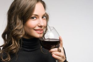 wine glass smiling happy woman